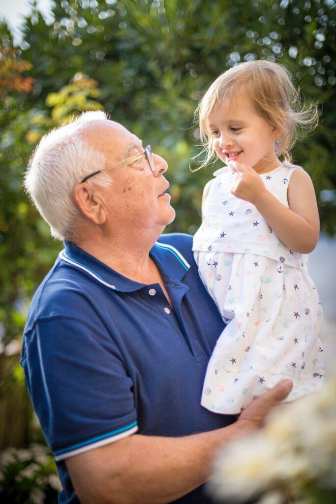 Elderly man with a child